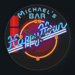 """Neon Light BAR Personalized SIGN Man Cave Large Clock<br><div class=""""desc"""">Fun and modern this neon sign themed wall clock makes a great gift. Add a name to personalize. In this collection of neon light styled wall clocks are clocks for man cave (bar, happy, hour, beer and cocktail themes), coffee and cafe themes for the kitchen or workplace, car and garage...</div>"""