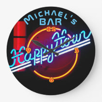 Neon Light BAR Personalized SIGN Man Cave Large Clock