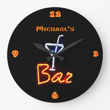 Neon Light BAR Personalized SIGN ManCave Large Clock