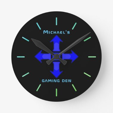 Neon Light GAMING DEN Personalized Gamers Gift Round Clock