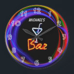 """Neon Light Private Home Personalized Bar Clock<br><div class=""""desc"""">See the rest of the zany Mancave stuff here... </div>"""