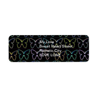 Neon Light Spectrum : Butterflies Return Address Label