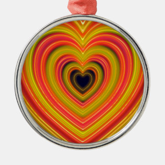 Neon Lighted Girly Heart Design Metal Ornament