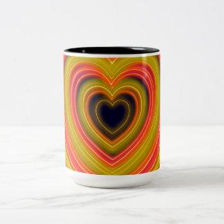 Neon Lighted Girly Heart Design Two-Tone Coffee Mug