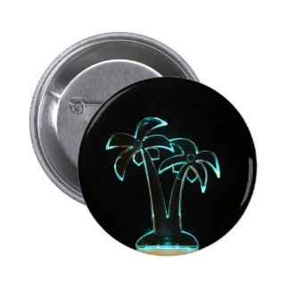 Neon Lighted Tropical Palm Trees Image 2 Inch Round Button