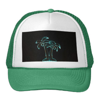 Neon Lighted Tropical Palm Trees Image Trucker Hat