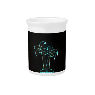 Neon Lighted Tropical Palm Trees Image Pitcher