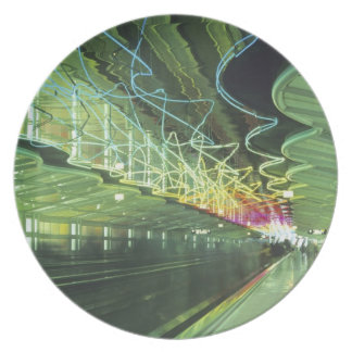 Neon lighting in corridor of the O'hare Airport, Melamine Plate