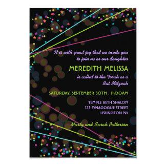 Neon Lights Bat Mitzvah Ceremony Invitation