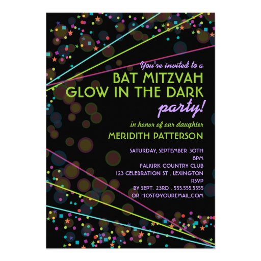 Neon Lights Bat Mitzvah Glow in the Dark Party Personalized Announcement