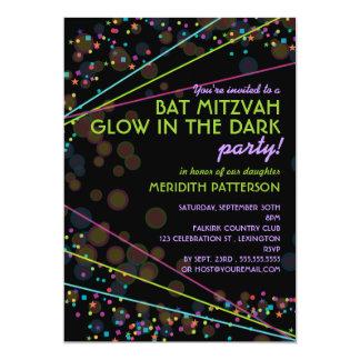 """Neon Lights Bat Mitzvah Glow in the Dark Party 5"""" X 7"""" Invitation Card"""