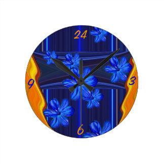 Neon Lights Blue Blossom Wall Clock