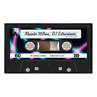 Neon Lights Cassette Tape DJ Music Party 80s Business Card