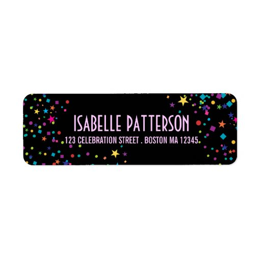 Neon Lights Colorful Confetti Party Address Labels