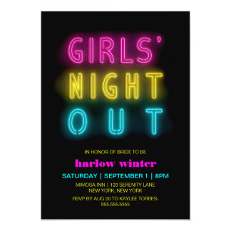 Neon Lights Girls' Night Out Bachelorette Party Invitation