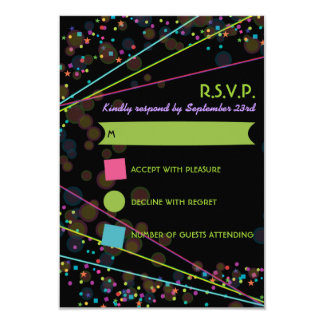 Neon Lights Glow in the Dark RSVP Response Card