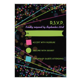 Neon Lights Glow in the Dark RSVP Response Card