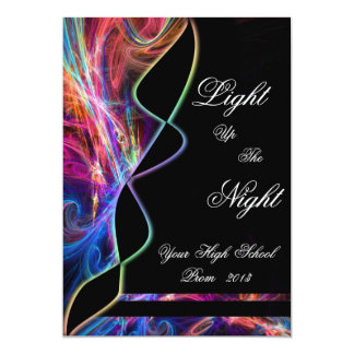 Neon Lights High School Prom Party Invitations