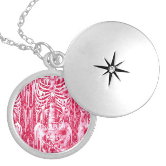 Neon lights. Hot pink poppies and lace skeleton Silver Plated Necklace