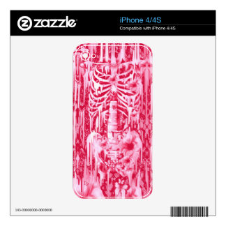 Neon lights. Hot pink poppies and lace skeleton Skins For The iPhone 4