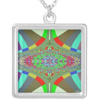 Neon Lights Ladder Fractal Silver Plated Necklace