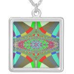 Neon Lights Ladder Fractal Square Pendant Necklace