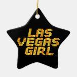 Neon Lights - Las Vegas Girl Double-Sided Star Ceramic Christmas Ornament