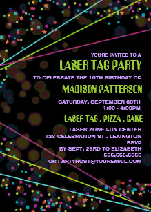 Laser tag birthday invitations announcements zazzle neon lights laser tag birthday party invitation stopboris Choice Image
