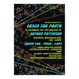 Neon Lights Laser Tag Birthday Party Invitation 5