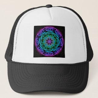 Neon Lights Mandala Design Trucker Hat