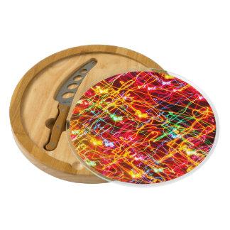 Neon lights multicoloured round cheese board