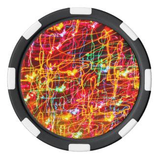 Neon lights multicoloured poker chips set