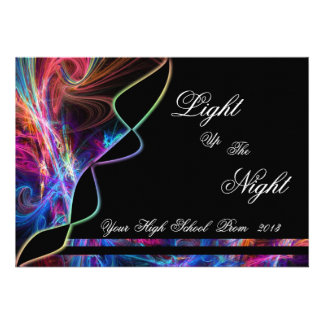 Neon Lights Prom Party Invitations
