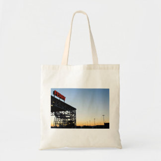 Neon lights spell ferry tote bag