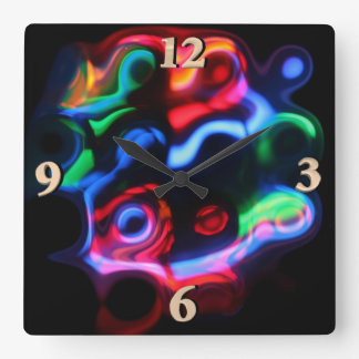 Neon Lights Square Wall Clock