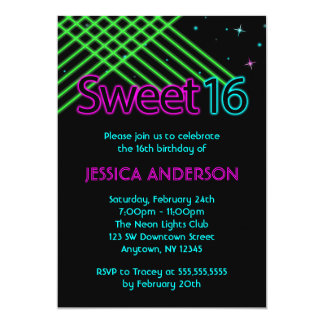 Neon Lights Sweet 16 Birthday Party Personalized Announcements