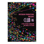 "Neon Lights Sweet 16 Club Party Invitation 5"" X 7"" Invitation Card"