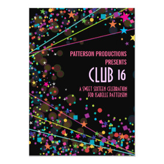 Neon Lights Sweet 16 Club Party Invitation