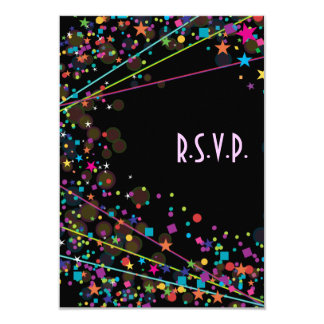 Neon Lights Sweet 16 Club Party RSVP Response Card