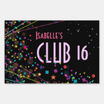Neon Lights Sweet 16 Club Party Sign