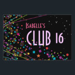 "Neon Lights Sweet 16 Club Party Sign<br><div class=""desc"">A colorful design of neon lit confetti and stars makes a great sign for a club themed Sweet Sixteen birthday or dance party. You customize the text.</div>"