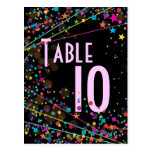 Neon Lights Sweet 16 Club Party Table Number Card Postcard
