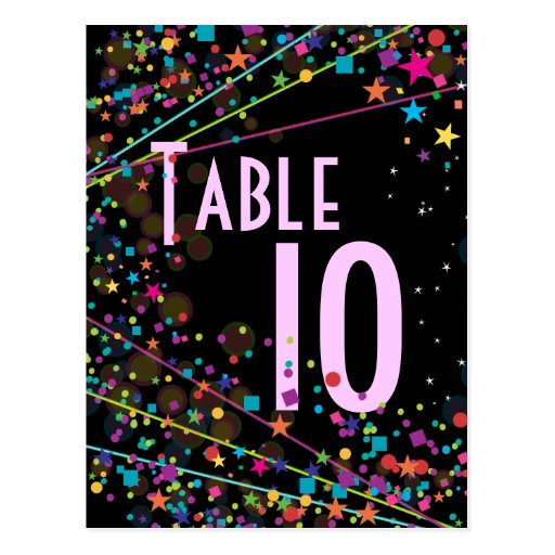 Neon Lights Sweet 16 Club Party Table Number Card Post Card
