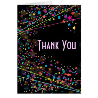 Neon Lights Sweet 16 Club Party Thank You Cards