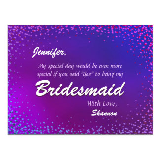 Neon Lights - Will You Be My Bridesmaid? Postcard