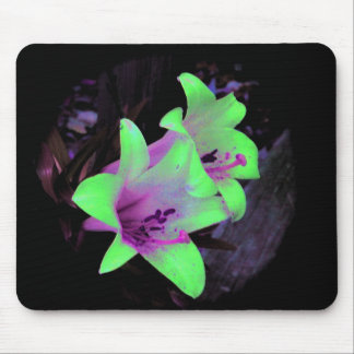 neon lilies mouse pad