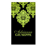 Neon Lime & Black Lush Damask Mommy Calling Card / Business Card Templates