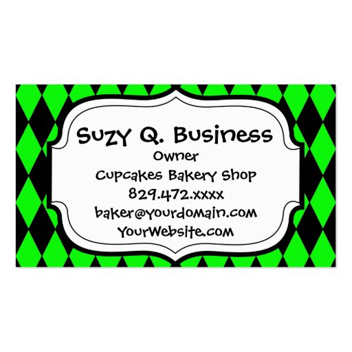 Neon Lime Green and Black Diamond Harlequin Patter Business Card Template