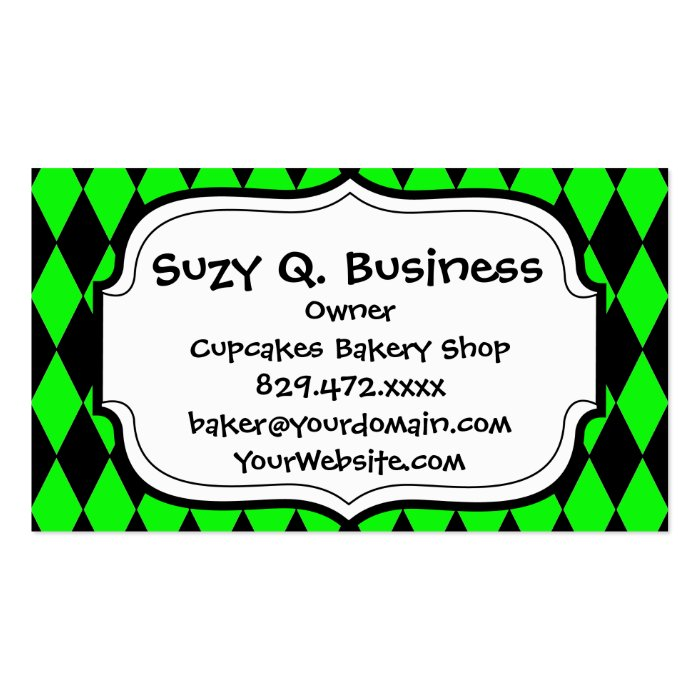 Neon Lime Green and Black Diamond Harlequin Patter Business Card