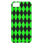 Neon Lime Green and Black Diamond Harlequin Patter iPhone 5C Case